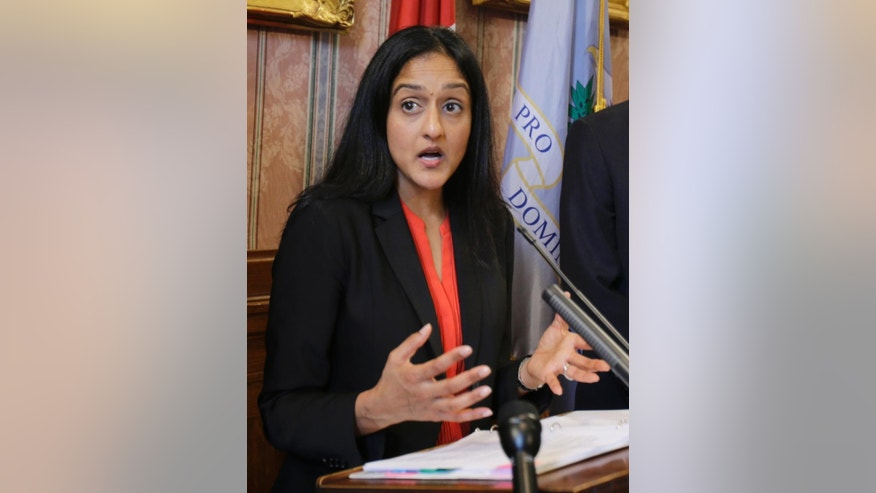 Vanita Gupta, head of civil rights division at the Department of Justice speaks at a news conference announcing the settlement agreement with the City of Cleveland Tuesday, May 26, 2015, in Cleveland. Cleveland agreed to overhaul its police department under the supervision of a federal monitor in a settlement announced Tuesday with the U.S. Department of Justice over a pattern of excessive force and other abuses by officers. The announcement comes three days after a white patrolman was acquitted of voluntary manslaughter charges in the shooting deaths of two unarmed black suspects in a 137-shot barrage of police gunfire following a high-speed chase. The case helped prompt an 18-month investigation by the Justice Department. (AP Photo/Tony Dejak)