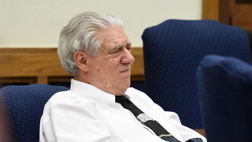 FILE - In this Wednesday, May 27, 2015 file photo, Wayne Burgarello listens as a witness takes the stand at the Washoe County District Court, in Reno, Nev. A Nevada prosecutor on Friday, May 29, urged jurors to convict Burgarello of first-degree murder, saying he was seeking out a deadly confrontation when he shot two unarmed trespassers in a vacant duplex he owns. Burgarello maintains he was acting in self-defense when he killed Cody Devine and seriously wounded Janai Wilson last year. A jury in Reno is expected to begin deliberations Friday afternoon. (Andy Barron/The Reno Gazette-Journal via AP, Pool,File)