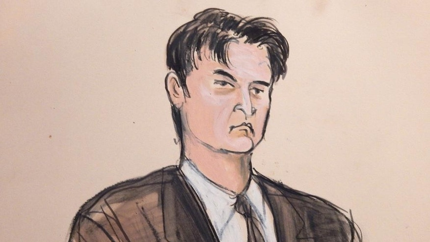 "FILE - This Feb 4, 2015, file courtroom sketch, shows defendant Ross William Ulbricht as the deputy recites the word ""guilty"" multiple times during Ubricht's trial in New York. Ulbricht is set to be sentenced Friday, May 29, 2015, after his February Manhattan federal court conviction. (AP Photo/Elizabeth Williams, File)"