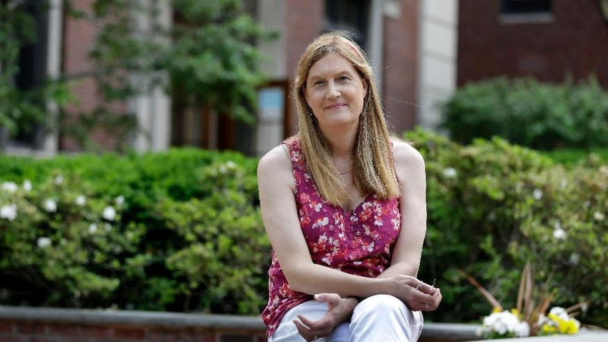 In this Thursday, May 28, 2015 photo, Jennifer Finney Boylan poses for a picture on the Barnard College campus, where she is an English professor, in New York. Boylan, who is transgender and an LGBT advocate, has spoken out in favor of admitting transgender students to women's colleges. (AP Photo/Seth Wenig)