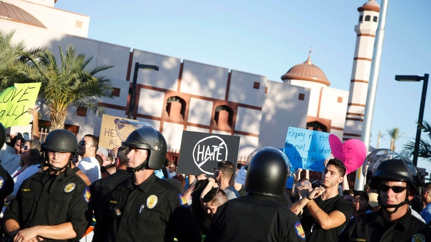 May 29, 2015: Protesters gather outside the Islamic Community Center of Phoenix.