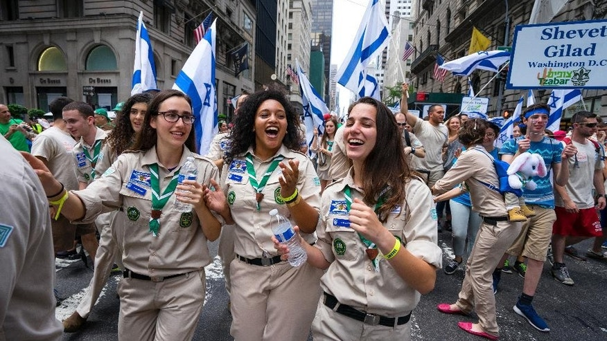 A delegation of Israel Scouts march along Fifth Ave. during the Celebrate Israel Parade, Sunday, May 31, 2015, in New York. (AP Photo/Craig Ruttle)