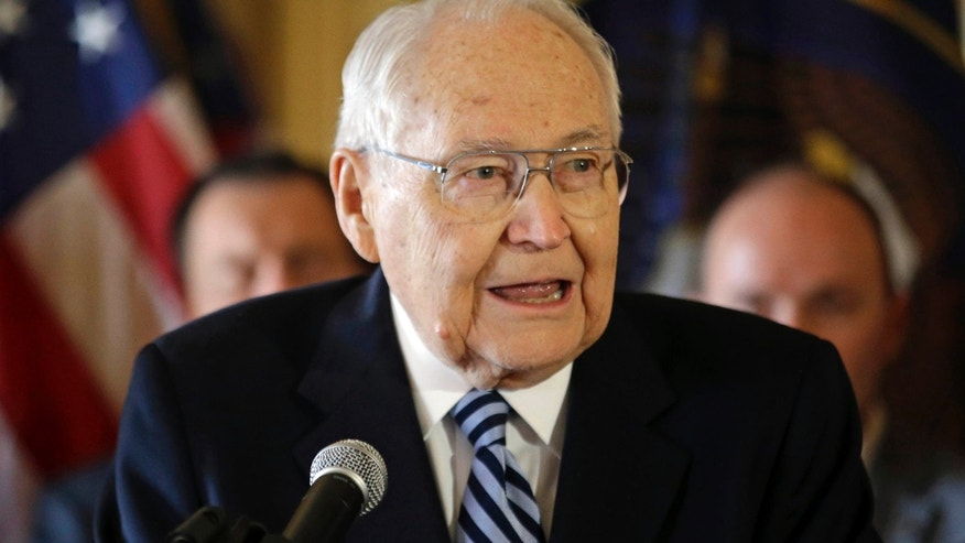 March 4, 2015: L. Tom Perry, the second-most senior member of the high-level Mormon governing body called the Quorum of the Twelve Apostles, speaks during a news conference at the Utah State Capitol in Salt Lake City.