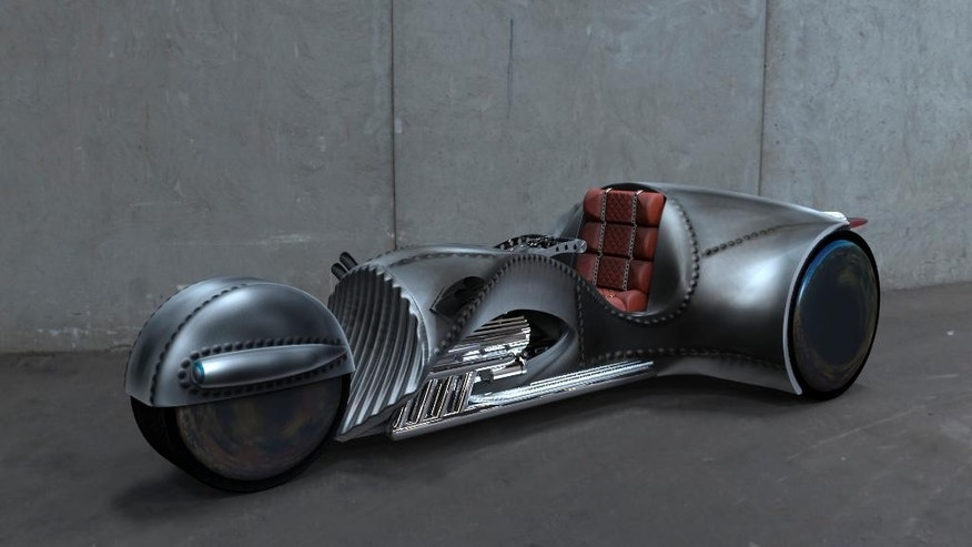 "This photo provided by courtesy of American Wrench/Rivet Motors shows American Wrench's Rivet motorcycle. ""Star Trek"" star, William Shatner, has partnered with custom motorcycle builder American Wrench to create the Rivet motorcycle. Shatner is boldly traveling across the U.S. on the three-wheeled motorcycle launching the journey June 23, 2015, outside of Chicago. (American Wrench/Rivet Motors via AP)"