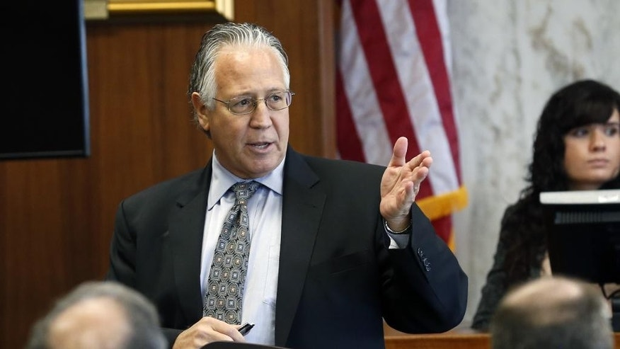 Charles LiMandri delivers the opening statement for the defense in a fraud trial against Jews Offering New Alternatives for Healing, (JONAH) Wednesday, June 3, 2015, in Jersey City, N.J. The nonprofit New Jersey based group promised to turn gays heterosexual with so-called gay conversion therapy.   (AP Photo/The Star-Ledger, Alex Remnick, Pool)