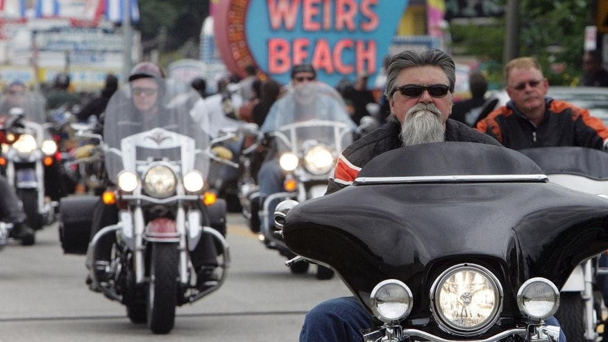 June 16, 2010: In this file photo, bikers arrive at Weirs Beach for bike week in Laconia, N.H.