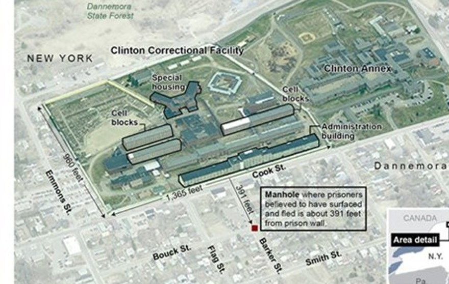 An annotated aerial image of the Clinton Correctional Facility in Dannemora, N.Y. shows where the prisoners escaped and provides details of the prison. Included are mugshots of the escapees and description of their crimes; 4c x 7 inches; 195.7 mm x 177 mm;