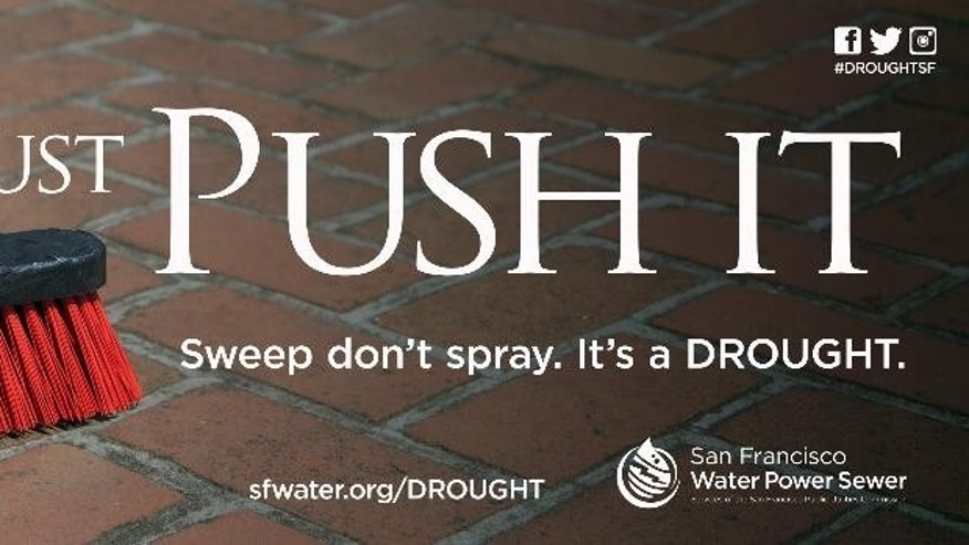 "This image is a copy of an ad created and released by the San Francisco Public Utilities Commission. San Francisco is hoping racier-yet ads promoting water conservation _ like ""Go Full Frontal,"" for water-saving front-loading washers _ will encourage Bay Area residents to save yet more, to meet a state-mandated 10 percent cut in water use for the drought. Even with sexy public service announcements, it may be a tough sell. Bay Area residents already are among the thriftiest water users in the state, and the area's water reservoirs are 90 percent full.  (AP Photo/San Francisco Public Utilities Commission)"