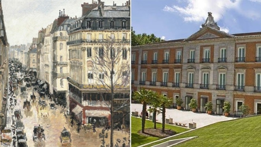 "The Pissarro work ""Rue Saint-Honore, Apres-midi, Effet de Pluie,"" left, will stay under the ownership of a foundation that runs the Thyssen-Bornemisza museum inside Villahermosa Palace, right, in Madrid, Spain."