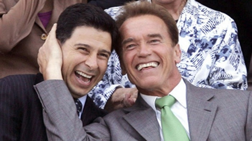 Former California Gov. Arnold Schwarzenegger, right, is pictured with Fabian Nuñez, left, a former California Assembly speaker, in an undated photo.