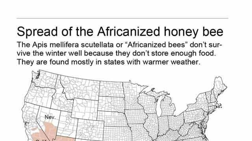 Map shows distribution of the killer bees.; 2c x 4 inches; 96.3 mm x 101 mm;