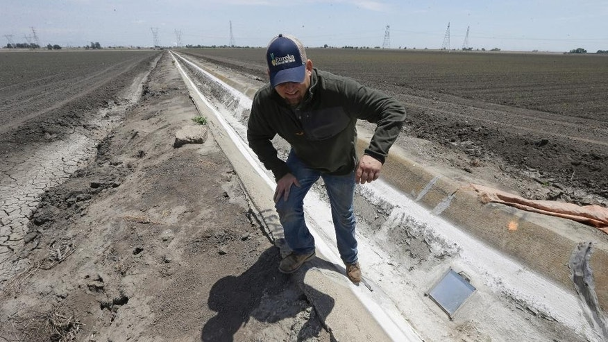 FILE - In this file photo taken Monday, May 18, 2015, farmer Gino Celli climbs out of a irrigation canal that is covered in dried salt on a field he farms near Stockton, Calif.  California, grappling with drought, exacted the broadest water cuts on record Friday, June 12, 2015, among farmers and others holding some of the strongest water rights in the state, directing thousands in one of the country's prime farm regions to stop all pumping from three major waterways.  (AP Photo/Rich Pedroncelli, File)