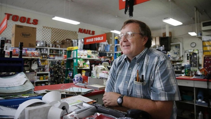 "In this Tuesday, June 9, 2016, photo, Jim Sterling stands in a hardware store where he works in Eutaw, Ala. Sterling talks about earthquakes at his home, ""I heard a boom and felt the shaking,"" Sterling said. ""It really upset me.""   More than a dozen weak earthquakes have followed in the seven months since in west Alabama's rural Greene County, and geologists are trying to figure out what is causing the seismic swarm in an area of the South more prone to tornadoes than earthquakes.  (AP Photo/Brynn Anderson)"