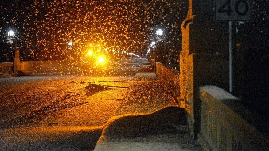 A swarm of mayflies hovers over the Route 462 bridge over the Susquehanna River late Saturday evening, June 13, 2015, between Columbia and Wrightsville, Pa. Authorities say the swarm was so dense that it caused a series of motorcycle crashes and prompted them to close the bridge. (Blaine Shahan/LNP via AP)