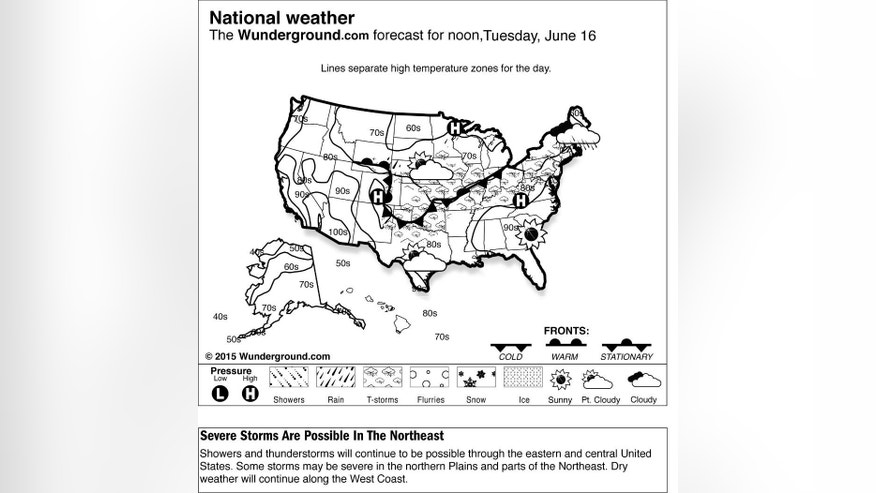 This is the Weather Underground forecast for Tuesday, June 16, 2015, for the United States. Showers and thunderstorms will continue to be possible through the eastern and central United States. Some storms may be severe in the northern Plains and parts of the Northeast. Dry weather will continue along the West Coast. (Weather Underground via AP)