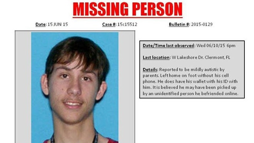 Noah Edward Heslin, 18, is pictured in a missing-person flier provided by the Clermont Police Department.