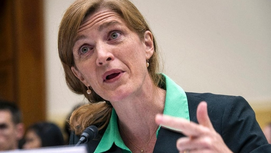 U.S. United Nations Ambassador Samantha Power testifies on Capitol Hill in Washington, Tuesday, June 16, 2015, before the House Foreign Affairs committee hearing on Advancing U.S. Interests at the United Nations. (AP Photo/Cliff Owen)