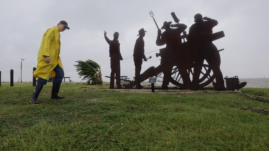 Port Lavaca Mayor Jack Whitlow surveys damage to a park as Tropical Storm Bill passes over, Tuesday, June 16, 2015, in Port Lavaca, Texas. The storm came ashore shortly before noon along Matagorda Island with maximum sustained winds of 60 mph, according to the National Hurricane Center in Miami. (AP Photo/Eric Gay)