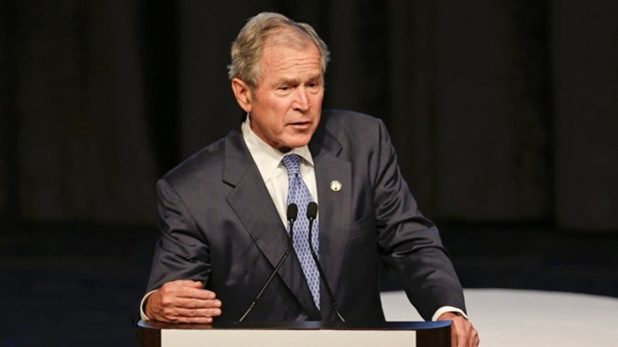 June 18, 2015: Former President George W. Bush speaks at the  74th Annual Father of the Year Awards benefit luncheon in New York.