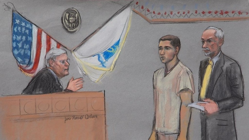 In this courtroom sketch, Khairullozhon Matanov is depicted while being sentenced in Federal Court for misleading investigators after the Boston Marathon bombing Thursday, June 18, 2015, in Boston. Matanov, a friend of one Boston Marathon bomber, had dinner with the brothers hours after the attack. He has been sentenced to 2 1/2 years in prison for misleading investigators. (Jane Flavell Collins via AP)