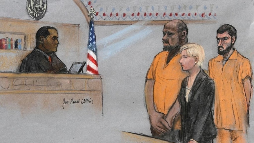 In this courtroom sketch, David Wright, second from left, is depicted standing before Magistrate Judge Donald Cabell, left, with attorney Jessica Hedges, second from right, and Nicholas Rovinski, right, during a hearing Friday, June 19, 2015, in federal court in Boston. Wright and Rovinski pleaded not guilty to charges of conspiring to provide material support to a terrorist organization by plotting with Boston terror suspect Usaamah Rahim to behead conservative blogger Pamela Geller. The plot was not carried out.  (Jane Flavell Collins via AP)