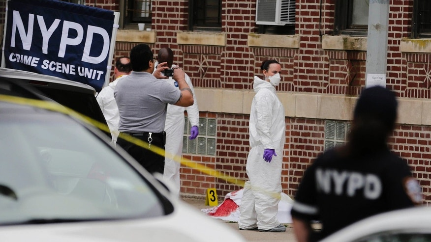 June 18, 2015: Police officials stand near the body of a man shot in the Brooklyn borough of New York.