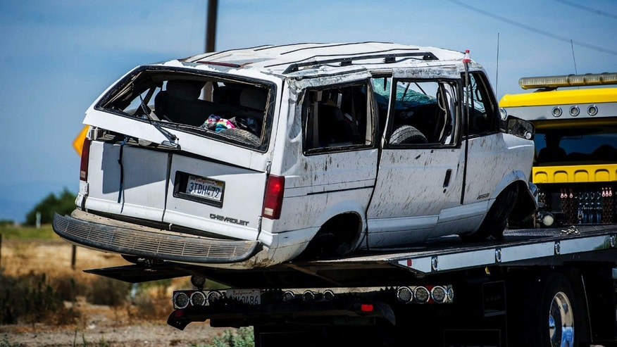 June 20, 2015: The California Highway Patrol investigate the scene of a fatal single vehicle crash on State Route 152 in Merced County, Calif.