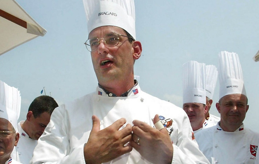 July 27, 2014: Outgoing White House chef Walter Scheib greets chefs from around the world at the Chesapeake Bay Maritime Museum in St. Michaels, Md.