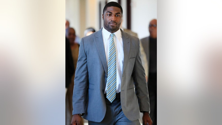 FILE - In this Nov. 3, 2014, file photo, former Vanderbilt football player Cory Batey arrives for jury selection in his rape trial  in Nashville, Tenn. Criminal Court Judge Monte Watkins granted a mistrial in the case of two former Vanderbilt football players convicted in the dorm-room rape of a student on Tuesday, June 23, 2015, when he ruled in favor of defense attorneys who said a juror intentionally withheld information that he was a rape victim during the jury selection process. (AP Photo/Mark Humphrey, File)