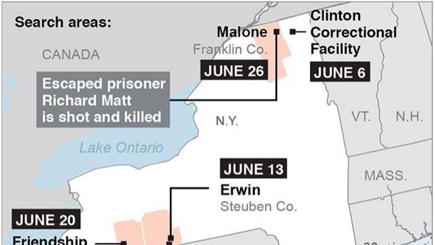Map locates several locations in N.Y. related where two escaped prisoners; 2c x 3 inches; 96.3 mm x 76 mm;