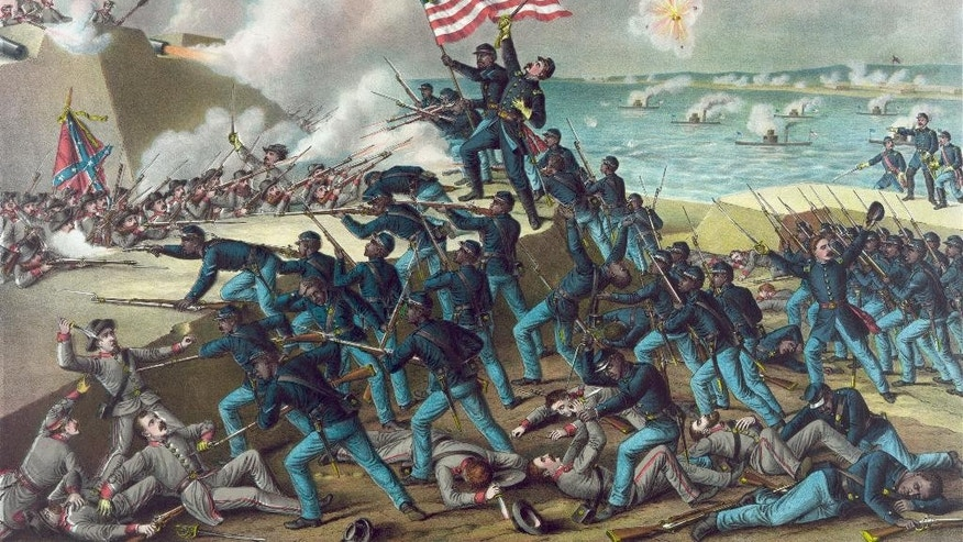 This 1890 artist's rendition by Kurz & Allison made available by the Library of Congress depicts the charge of Union soldiers with the Massachusetts 54th Infantry Regiment on the Confederate States Army site of Fort Wagner, Morris Island, S.C., near Charleston, on July 18, 1863. Experts say in the U.S., particularly since the Civil War, flags have come to embody ideology and stir passions in ways that have few modern international equivalents. (Kurz & Allison, Library of Congress via AP)