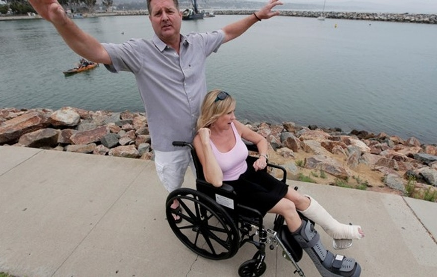 June 21: Dirk Frickman describes how a dolphin leaped onto his boat on, in Southern California breaking both of his wife Chrissie's ankles while boating near Dana Point, Calif.