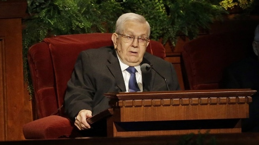 April 6, 2014: President Boyd K. Packer, of the Quorum of Twelve Apostles, of The Church of Jesus Christ of Latter-day Saints, addressing the 184th Annual General Conference of The Church of Jesus Christ of Latter-day Saints, in Salt Lake City.