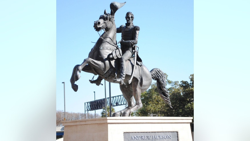 In this January 14, 2011 photo: the Andrew Jackson statue at the Jacksonville Landing in Jacksonville, Florida before the defacing.