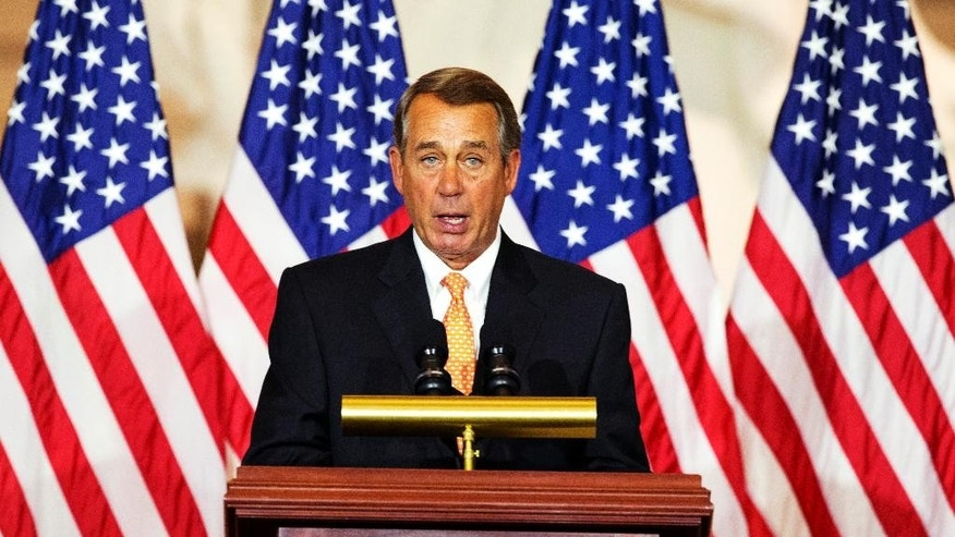 House Speaker John Boehner of Ohio, speaks during a ceremony to commemorate the 50th anniversary of the Vietnam War on Capitol Hill in Washington, Wednesday, July 8, 2015.  (AP Photo/Manuel Balce Ceneta)