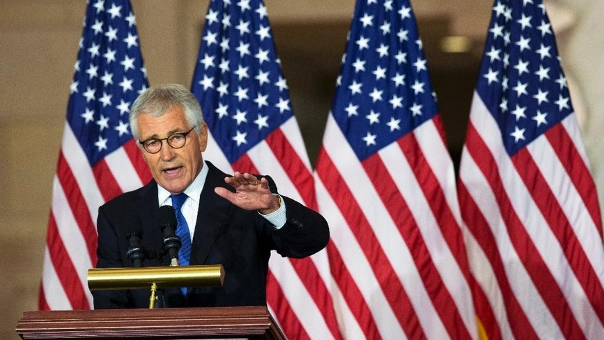 Former Secretary of Defense Chuck Hagel, speaks about his experiences as a soldier fighting in Vietnam, during a ceremony to commemorate the 50th anniversary of the Vietnam War on Capitol Hill in Washington, Wednesday, July 8, 2015.  (AP Photo/Manuel Balce Ceneta)