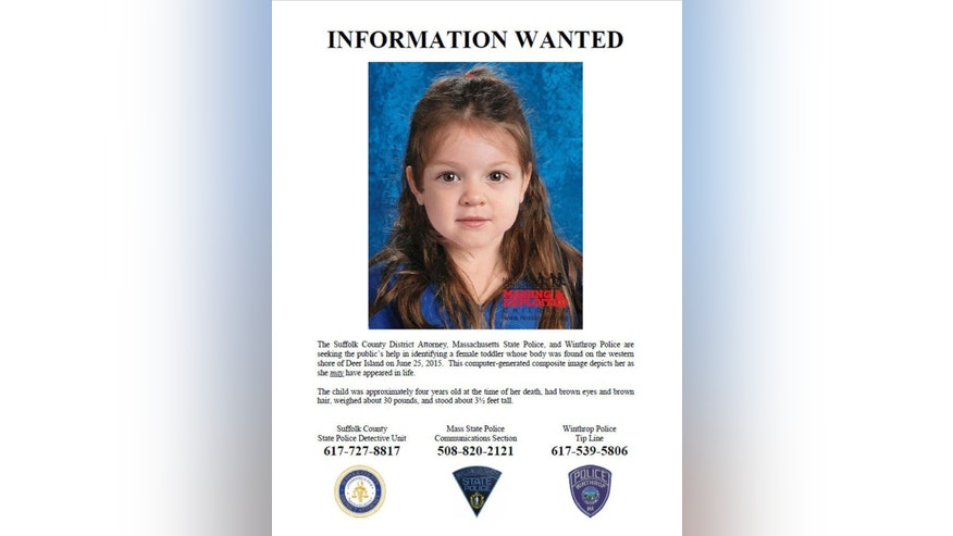 This flyer released Thursday, July 2, 2015, by the Suffolk County Massachusetts District Attorney includes a computer-generated composite image depicting the possible likeness of a young girl, whose body was found on the shore of Deer Island in Boston Harbor on June 25, inside a bag that also contained a black and white zebra-print blanket. She was wearing white leggings with black polka dots. Officials believe the brown-haired, brown-eyed girl was about 4 years old and are hoping the information generates clues about her identity. (Suffolk County District Attorney via AP)