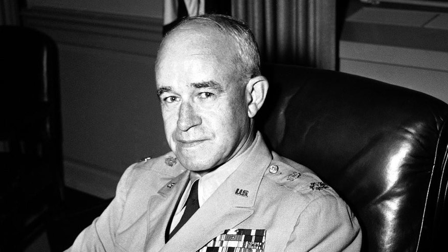 FILE - In this Sept. 22, 1951, file photo, Joint Chiefs of Staff Gen. Omar Bradley poses in his office after being promoted to the five-star rank of General of the Army in Washington, wearing his new insignia. Bradley was the first chairman of the Joint Chiefs. (AP Photo/Byron Rollins, File)