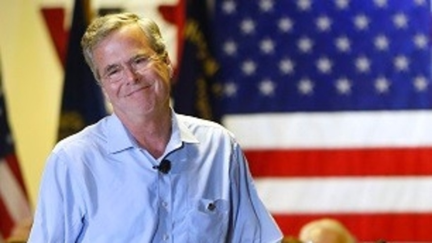 Republican presidential candidate former Florida Gov. Jeb Bush speaks at a town hall meeting Wednesday, July 8, 2015, in Hudson, N.H. (AP Photo/Jim Cole)
