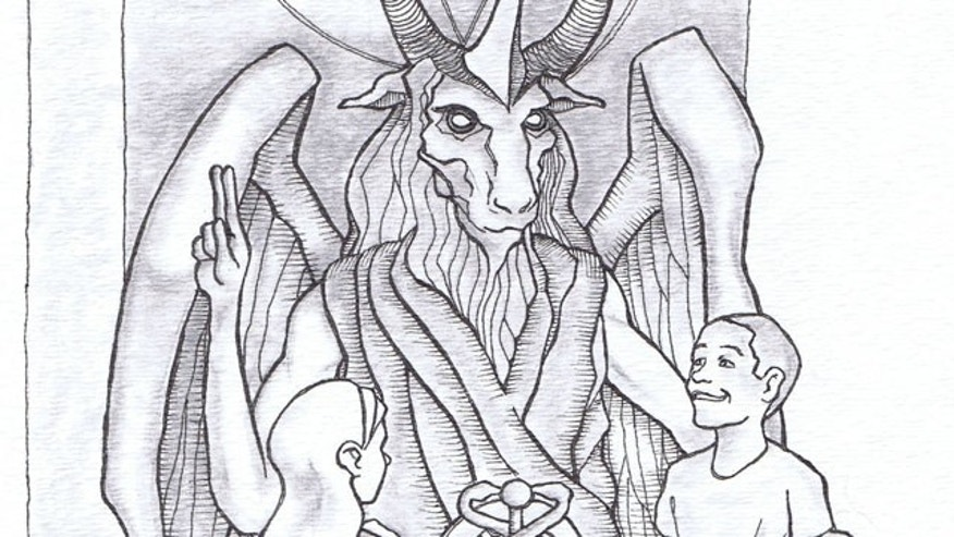 This artist's rendering provided by the Satanic Temple shows a proposed monument that the group wants to unveil in Detroit.
