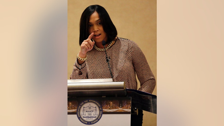 Baltimore State Attorney Marilyn Mosby delivers the keynote address during the Women in NAACP Empowerment Forum and Brunch, Sunday, July 12, 2015, in Philadelphia. The event was a part of the NAACP's 106th Annual National Convention, running through July 15. (AP Photo/Matt Slocum)
