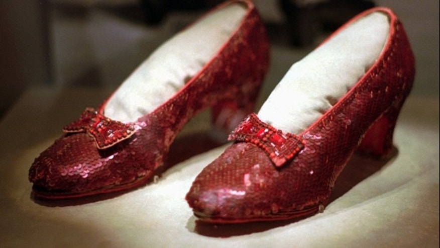 "April 10, 1996: This file photo shows one of the four pairs of ruby slippers worn by Judy Garland in the 1939 film ""The Wizard of Oz"" on display during a media tour of the ""America's Smithsonian"" traveling exhibition in Kansas City, Mo."