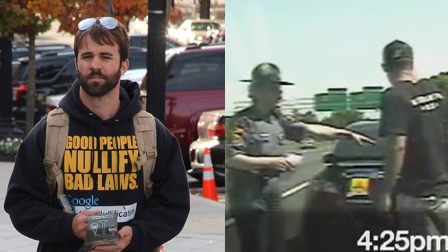 Nathan Cox, left, is being sued for $1.35 million by Virginia State Trooper Melanie McKenney, right, after he posted video of a heated encounter with the officer on the Internet and accused her of molesting him.