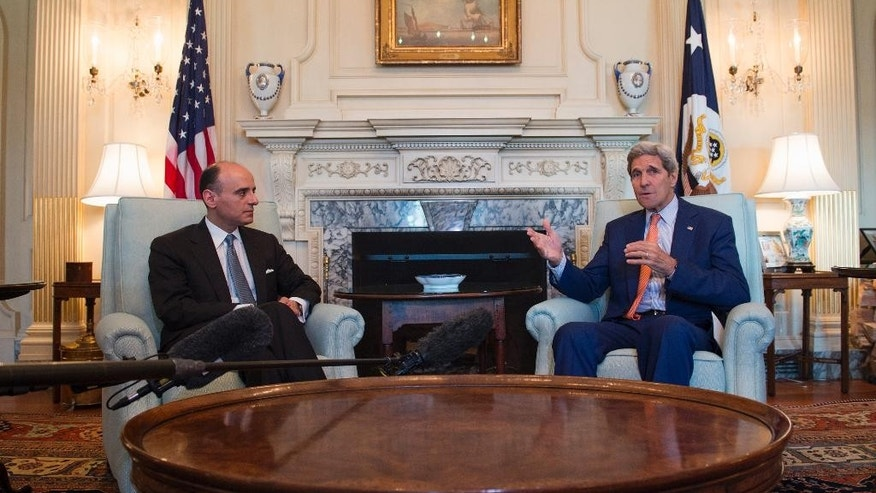 Secretary of State John Kerry meets with Saudi Arabia Foreign minister Adel bin Ahmed Al-Jubeir, Thursday, July 16, 2015, at the State Department in Washington. (AP Photo/Molly Riley)