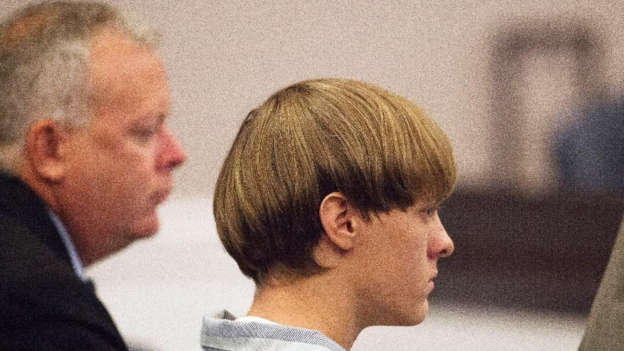 Dylann Roof appears at a court hearing in Charleston, S.C.