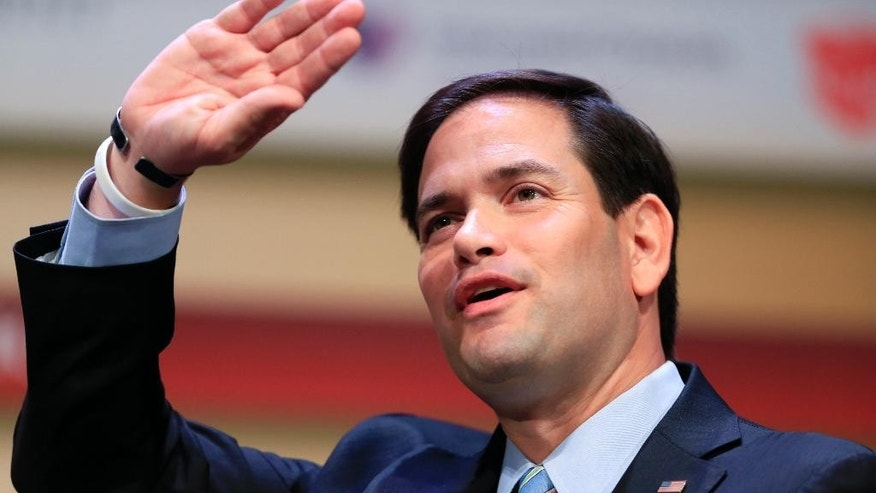 Republican presidential candidate, Sen. Marco Rubio, R-Fla., speaks at the Family Leadership Summit in Ames, Iowa, Saturday, July 18, 2015. (AP Photo/Nati Harnik)