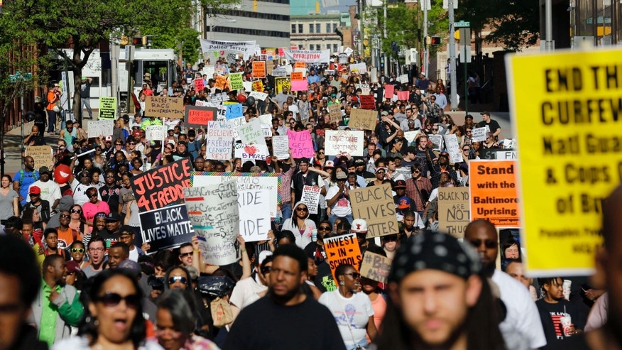 May 2, 2015: Protesters march through Baltimore the day after charges were announced against the police officers involved in Freddie Gray's death.