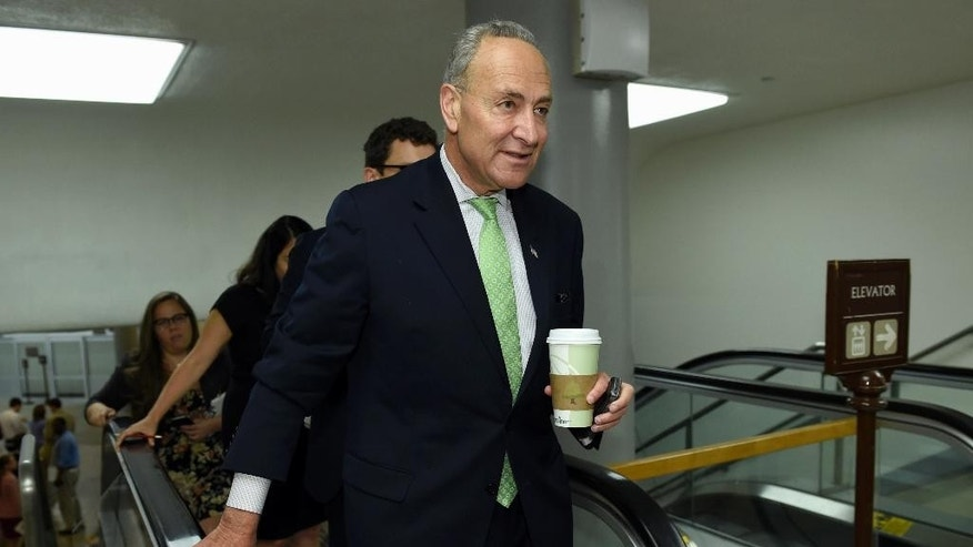 In this photo taken July 16, 2015, Sen. Charles Schumer, D-N.Y. walks on Capitol Hill in Washington. The lobbying fight is on to persuade lawmakers to vote for or against the nuclear deal the U.S. and other world powers just signed with Iran. Groups on both sides of the issue are laser-focused on Schumer, likely the next Democratic leader, a long-time ally of Israel and lawmaker from a state that is home to more than 1.5 million Jews. (AP Photo/Susan Walsh)