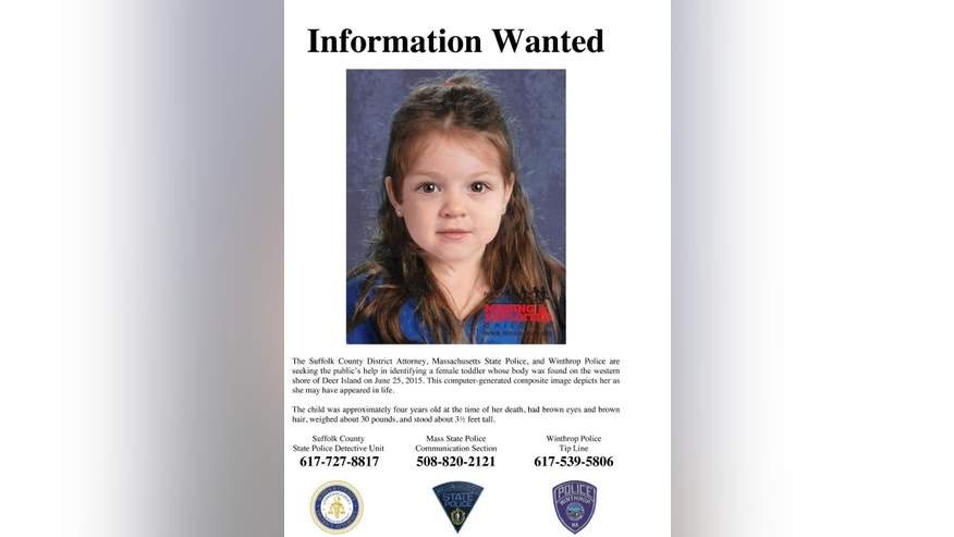 FILE - This undated flyer released Thursday, July 9, 2015, by the Suffolk County Massachusetts District Attorney includes a computer-generated composite image depicting the possible likeness of a young girl whose body was found on the shore of Deer Island in Boston Harbor on June 25, 2015. State police and prosecutors announced Monday, July 20, 2015, that they'll put a composite image of the girl they call Baby Doe along with text and telephone hotlines on 84 billboards around the state. (Suffolk County District Attorney via AP, File)