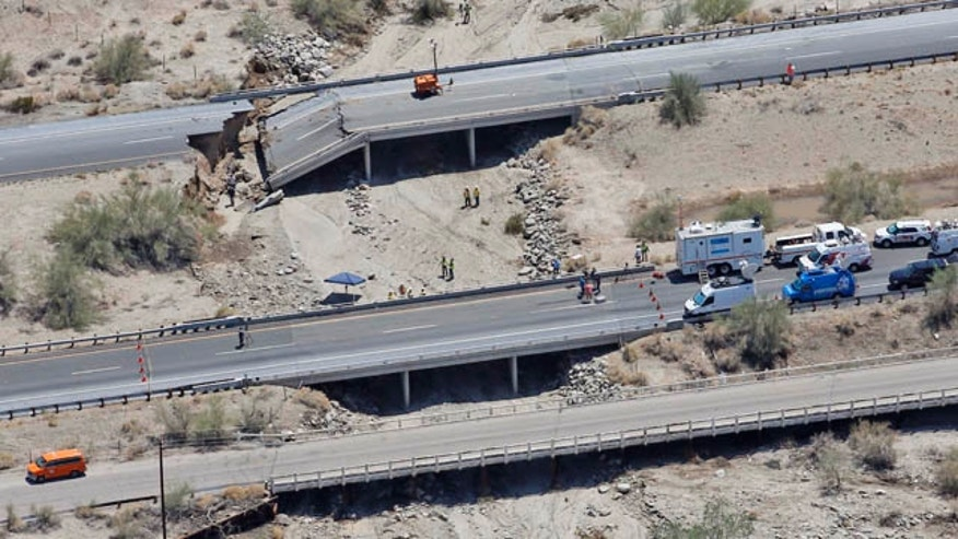 July 20, 2015: This aerial photo shows the collapsed elevated section of Interstate 10 in Desert Center, Calif. (AP Photo/Matt York)